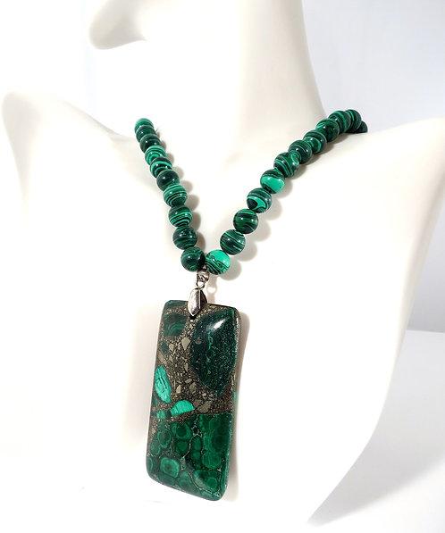 Iron Infused Malachite Pendant Necklace