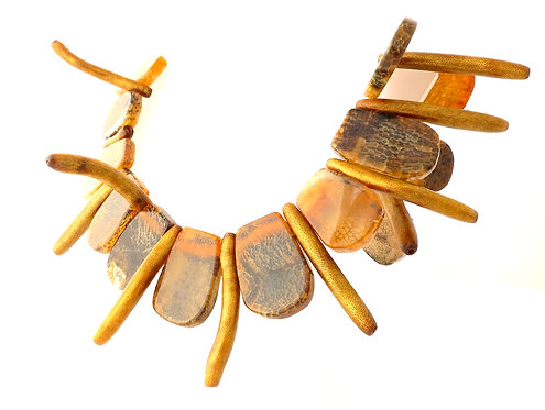Brown Agate accented with Golden Coral