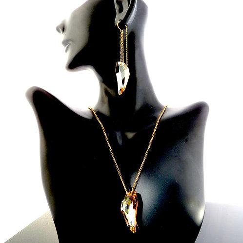 Golden Shadow Leaf Swarovski Crystal Set