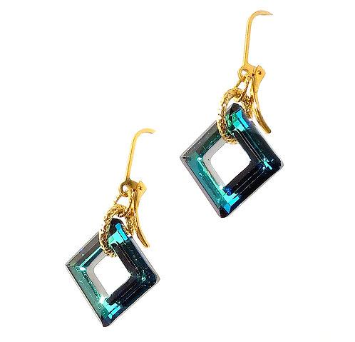 Turquoise Swarovski Cube Earrings