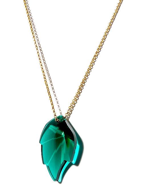 Green Leaf Swarovski Crystal Pendant Necklace