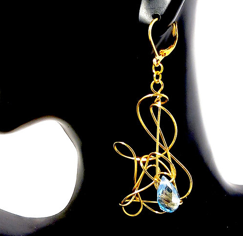 Infinity Earrings with Blue Crystal