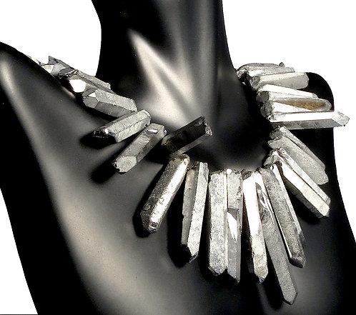Smokey Quartz Necklace Treated in a Silver Finish
