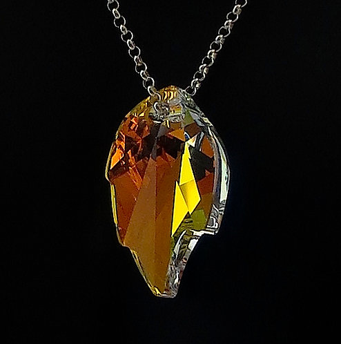 Crystal Aura Leaf Swarovski Crystal Necklace