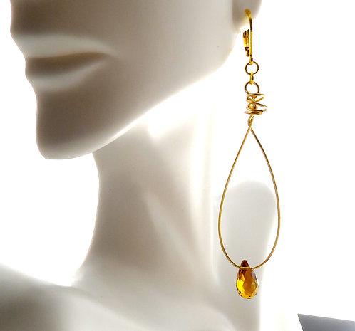 Amber Fire Polished Drop Crystal Hoop Earrring