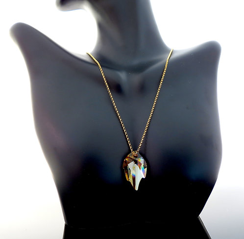 Golden Shadow Leaf Swarovski Crystal Necklace