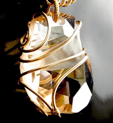 Golden Swarovski Pendant Wire Wrapped in 14k GF