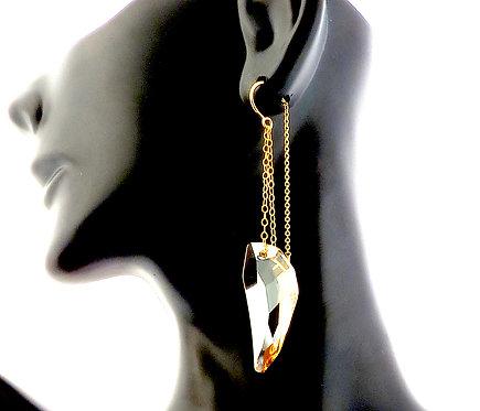 Golden Shadow Swarovski Crystal Drop Earrings