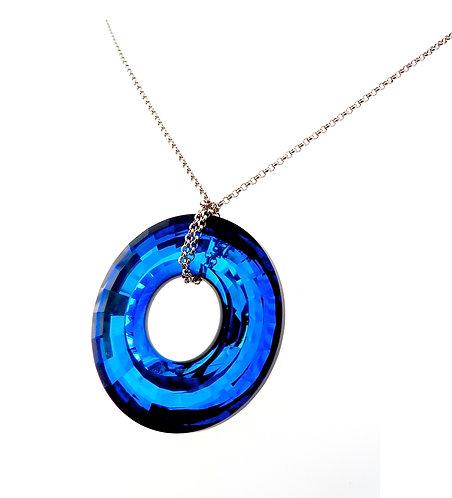 Blue Cobalt Swarovski Crystal Pendant Necklace
