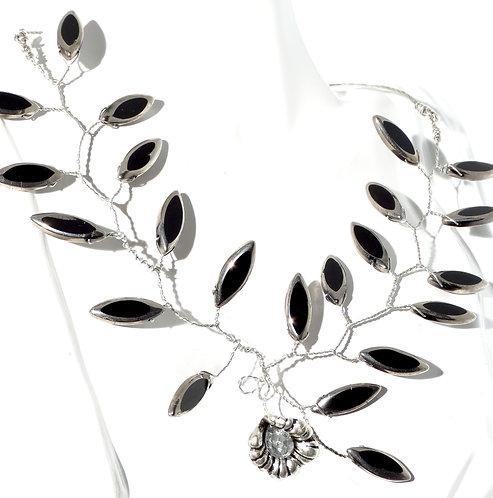 Black Fire Polished Crystal w Antique Flower