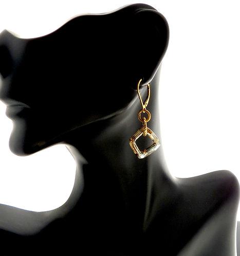 Golden Shadow Crystal Cube Earrings