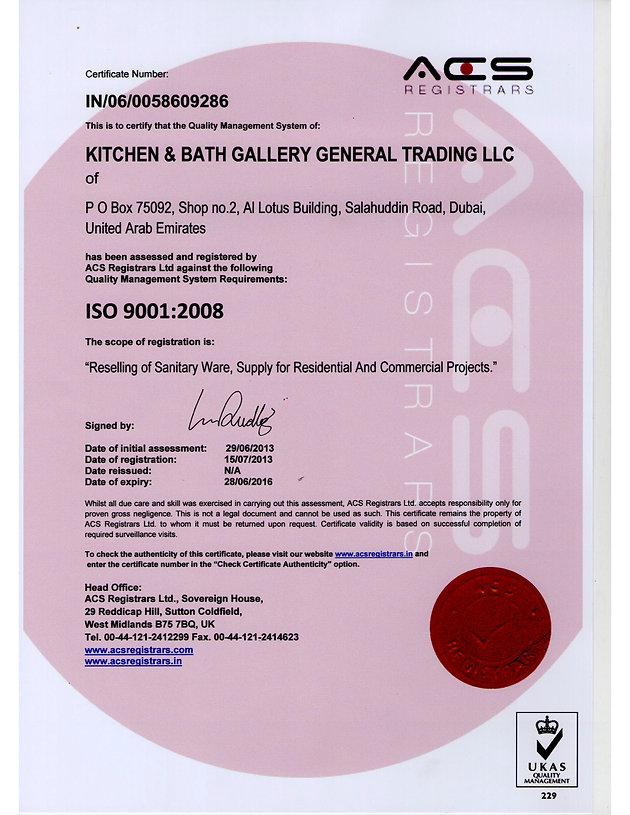 ISO Certified Kitchen & Bath Gallery Dubai UAE