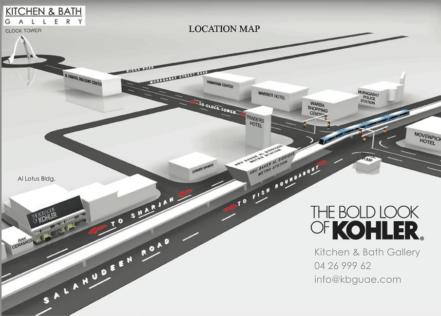 Location map, Kohler Sanitaryware Showroom Dubai