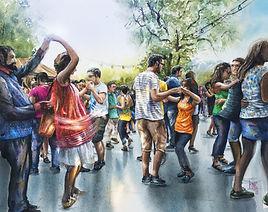 The dancers watercolour by Paul Clark