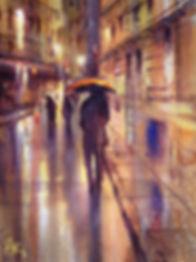 Rainy street watercolur by Paul Clark