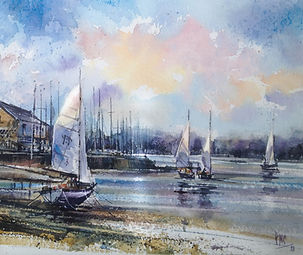Sails at Dusk watercolour by Paul Clark