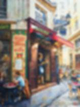 Paris Cafe watercolour by Paul Clark
