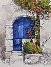 Blue Door Watercolour by Paul Clark