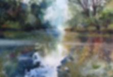 Still lake painting by Paul Clark