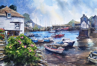 Polperro Harbour watercolour by Paul Clark