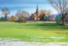 Alfriston Church watercolour by Paul Clark