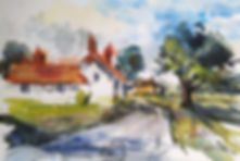 Country Lane watercolour sketch