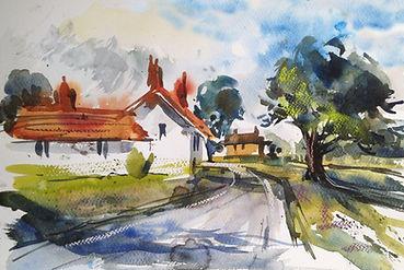 Country Lane watercolour sketch