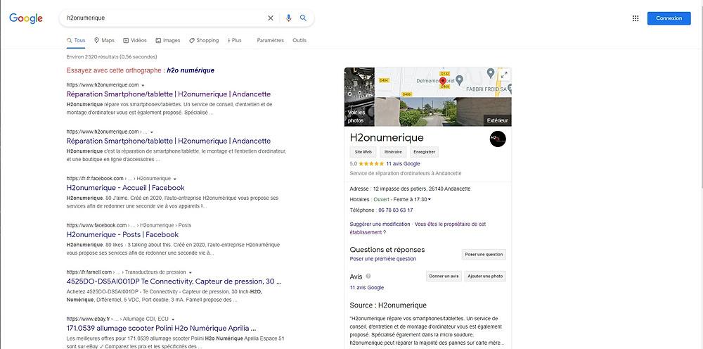 Retrouvez h2onumerique sur google business