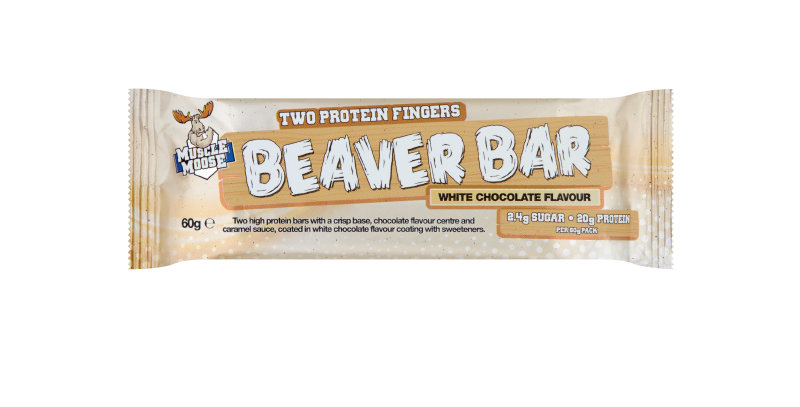 Beaver Bar Muscle Moose Protein Snack white chocolate