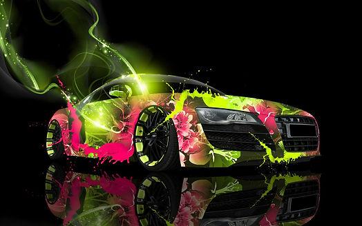 car_colorful_neon_reflection_digital_art