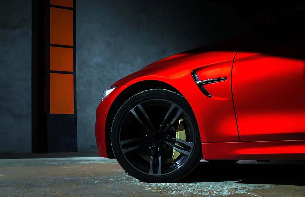Luxury red car details view, elegant and
