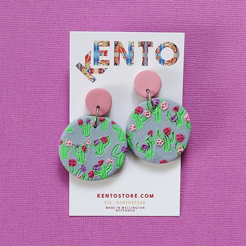 Cactus Flower Statement Earrings - Purple