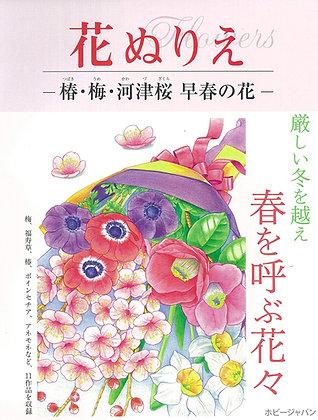 花ぬりえ 椿・梅・河津桜 早春の花