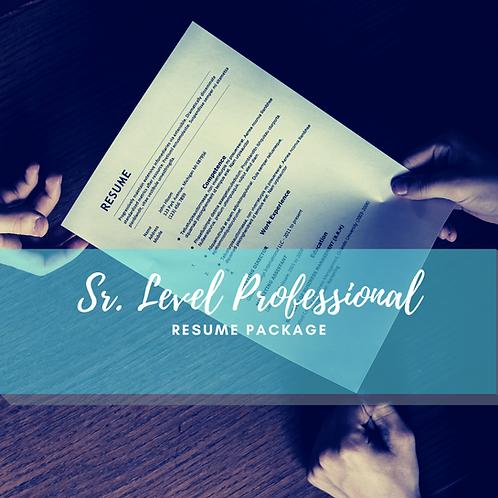 Sr. Level Professional Resume Writing Service