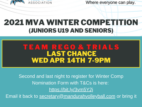 LAST CHANCE Rego & Trials for Winter Mixed Teams Competition - Night #2