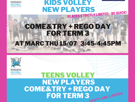 Rego Day for Kids and Teens Volley this Thursday 15/07/2021