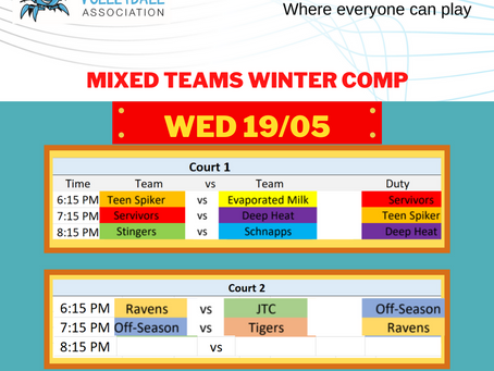 Fixtures Winter Competition May 19th
