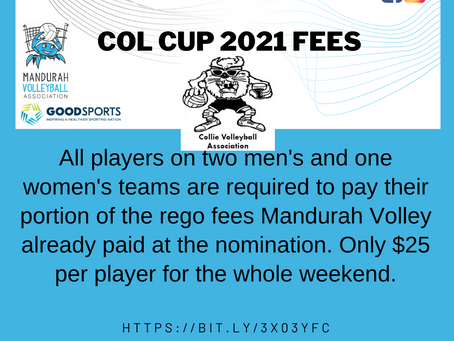 Col Cup 2021 - FEES for individual players payable now!