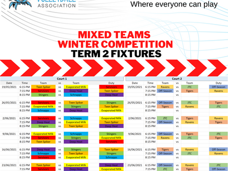 FIXTURES TERM 2 Winter Mixed Teams Competition