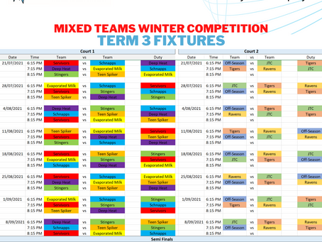 Winter Competition Term 3 FIXTURES