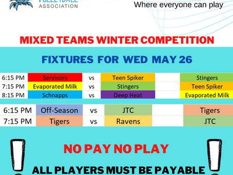 Fixtures for Wed May 26