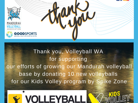 Kids Volley by Spike Zone - new volleyballs donated by Volleyball WA