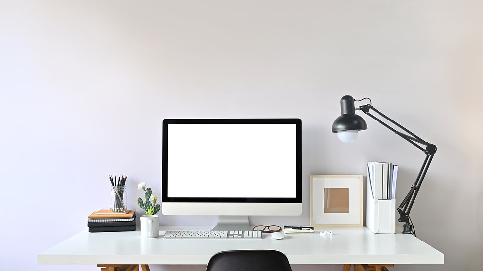 Photo of Contemporary Workspace. White b