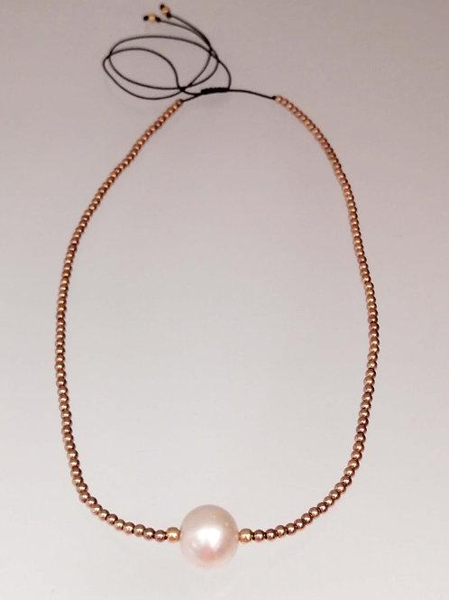 Collar Hematita perla Blanca