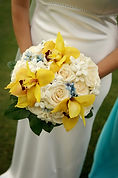 Bridal floral bouquet with yellow and white flowers