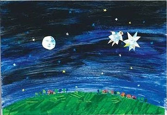 A drawing of a field at night with a starry sky,