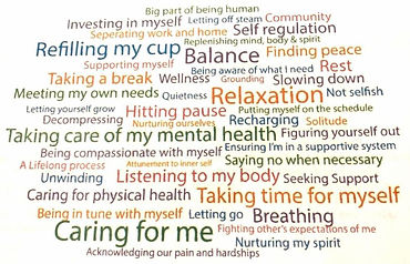 """A large number of survey responses about self care, including responses like """"listening to my body,"""" """"balance,"""" and """"hitting pause"""""""