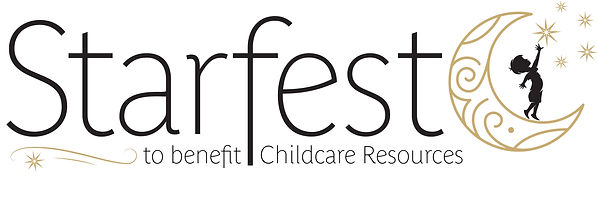 A logo that says 'Starfest - to benefit Childcare Resources' with a crescent moon. A child stands on the moon, reaching for the stars above.