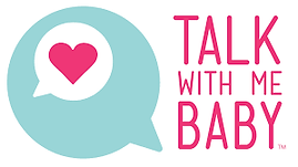 A blue speech bubble and the words 'Talk with me Baby'.