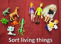 Two small groups of children's toys. The group on the left is animals and insects. The group on the right is humans.